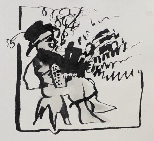 encre de chine au calame sur papier 20 x 20  © Francine Bassède