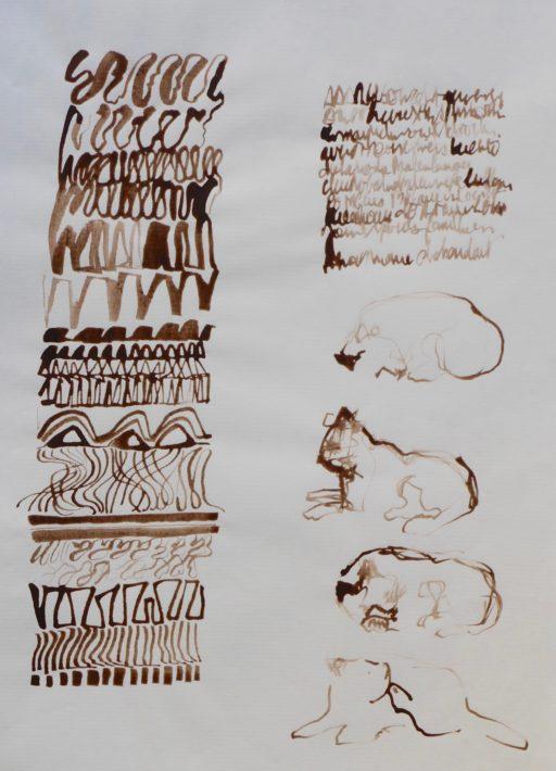 brou de noix au calame 42 x 30 © Francine Bassède