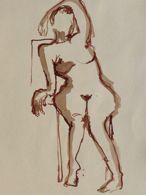 brou de noix en lavis et au calame 30 x 25 © Francine Bassède