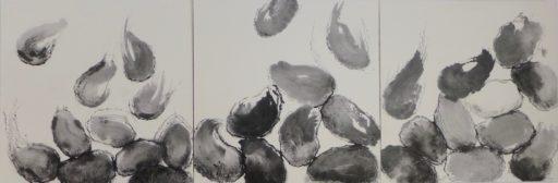 triptyque encre sur papier de riz marouflé sur toile 70 x 210