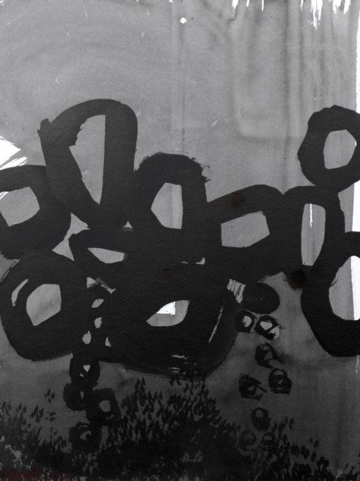 encre de chine sur papier marouflé sur toile 65 x 50