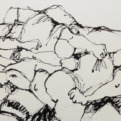 encre de chine au calame sur papier chiffon 20 x 20 © Francine Bassède