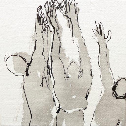 encre de chine en lavis et au calame sur papier chiffon 20 x 20  © Francine Bassède