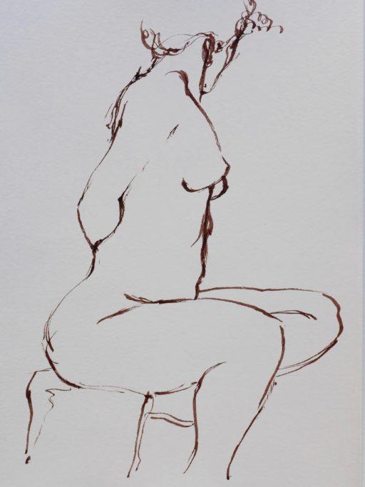 brou de noix au calame sur papier chiffon 30 x 25 © Francine Bassède
