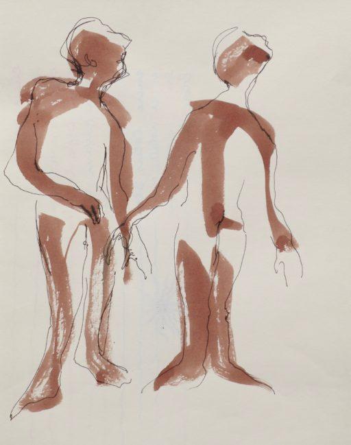 brou de noix et encre sur papier 30 x 22 © Francine Bassède