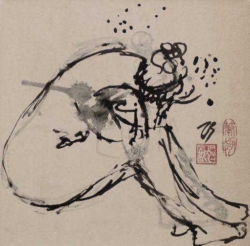 encre de chine sur papier marouflé sur toile 30 x 30 © Francine Bassède