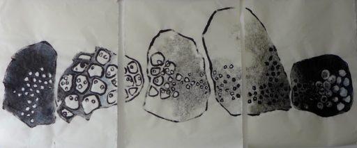 encre de chine et aquarelle sur papier de riz 80x240